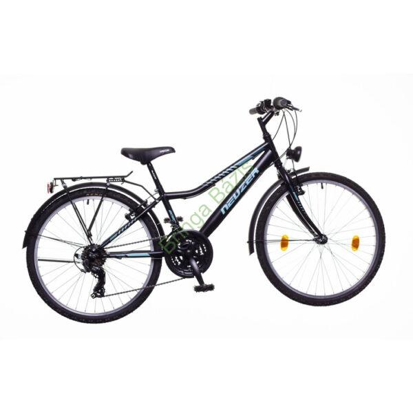Neuzer Bobby City gyerekkerékpár 24'', 18seb, fekete-türkiz